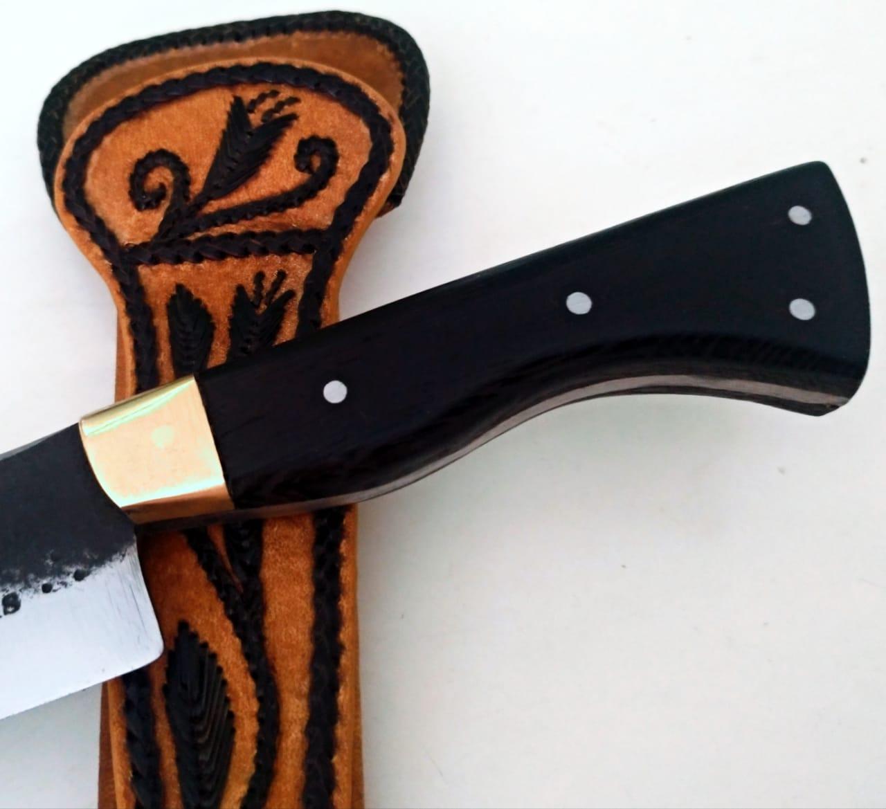 Faca artesanal negra tf língua de chimango aço carbono 12 polegadas
