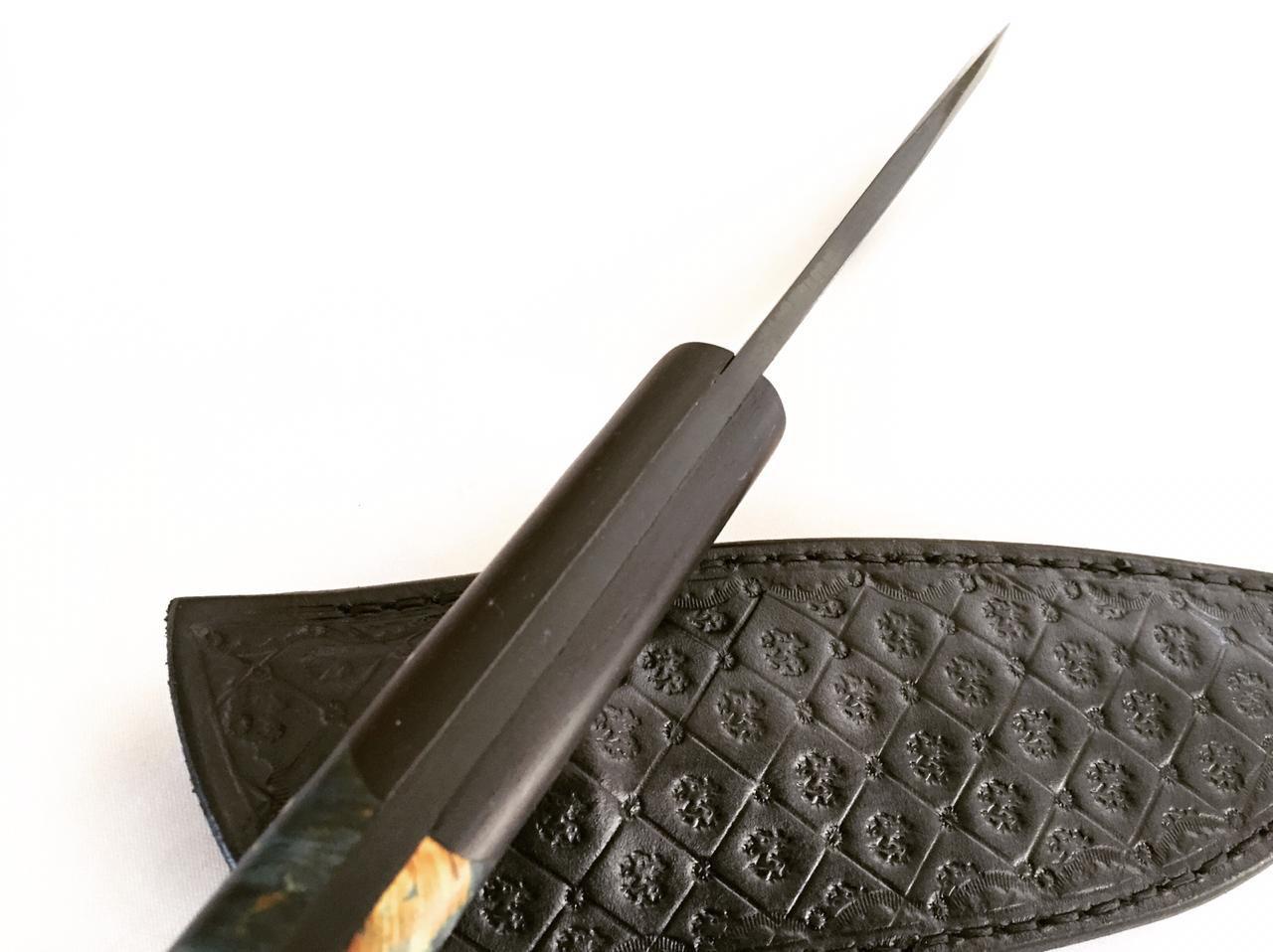 Faca artesanal negra utilitária 06 polegadas