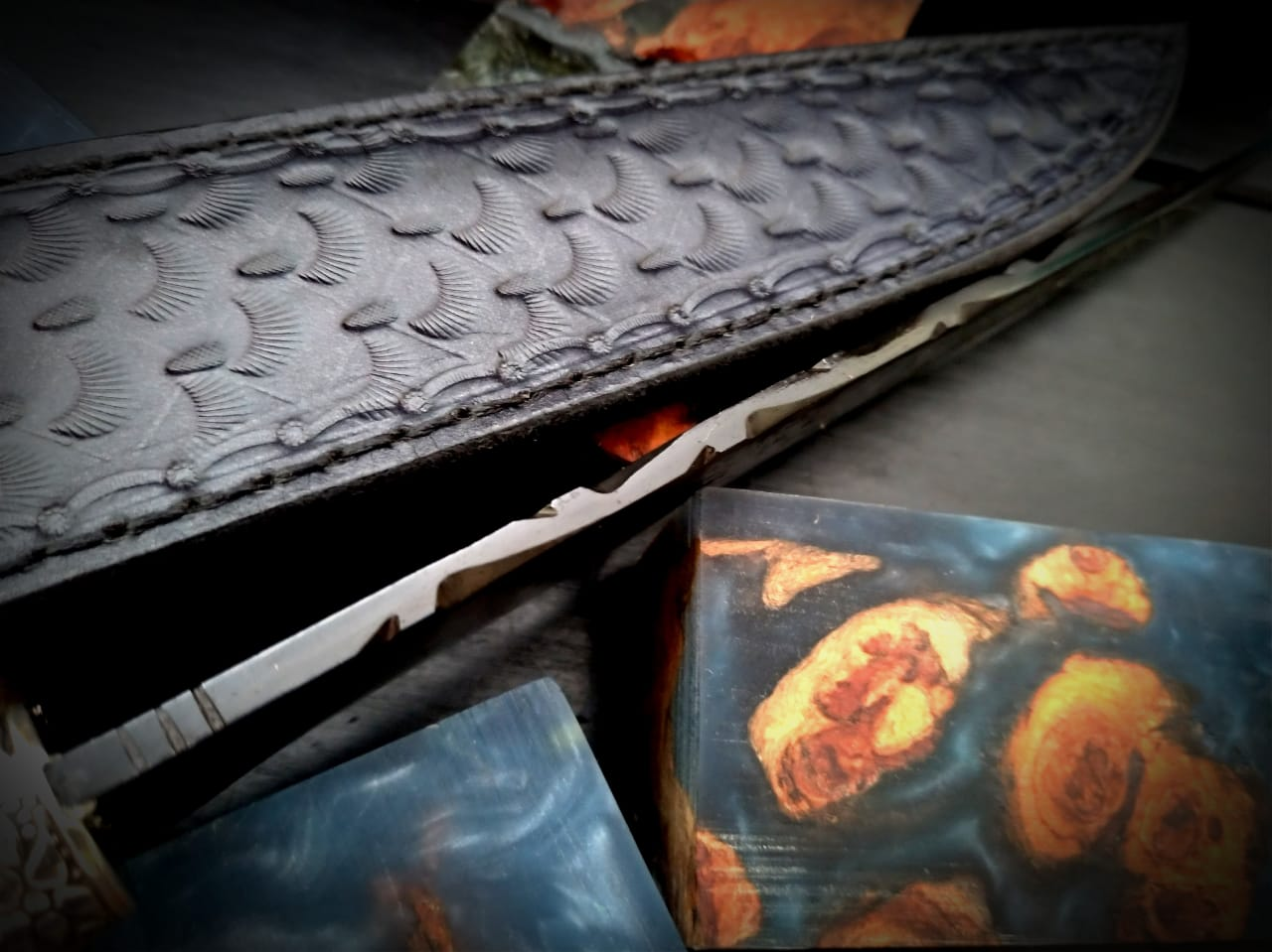 Faca artesanal sentinela negra aço carbono 10 polegadas