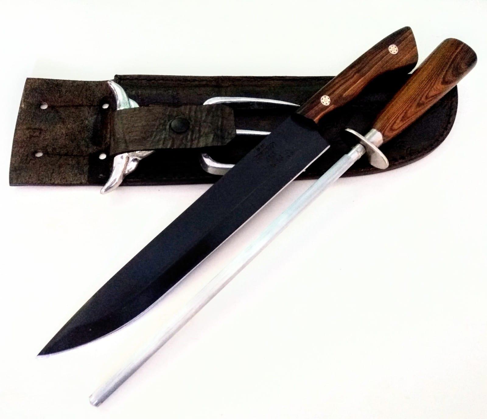 Kit churrasco artesanal faca chaira e garfo trinchante