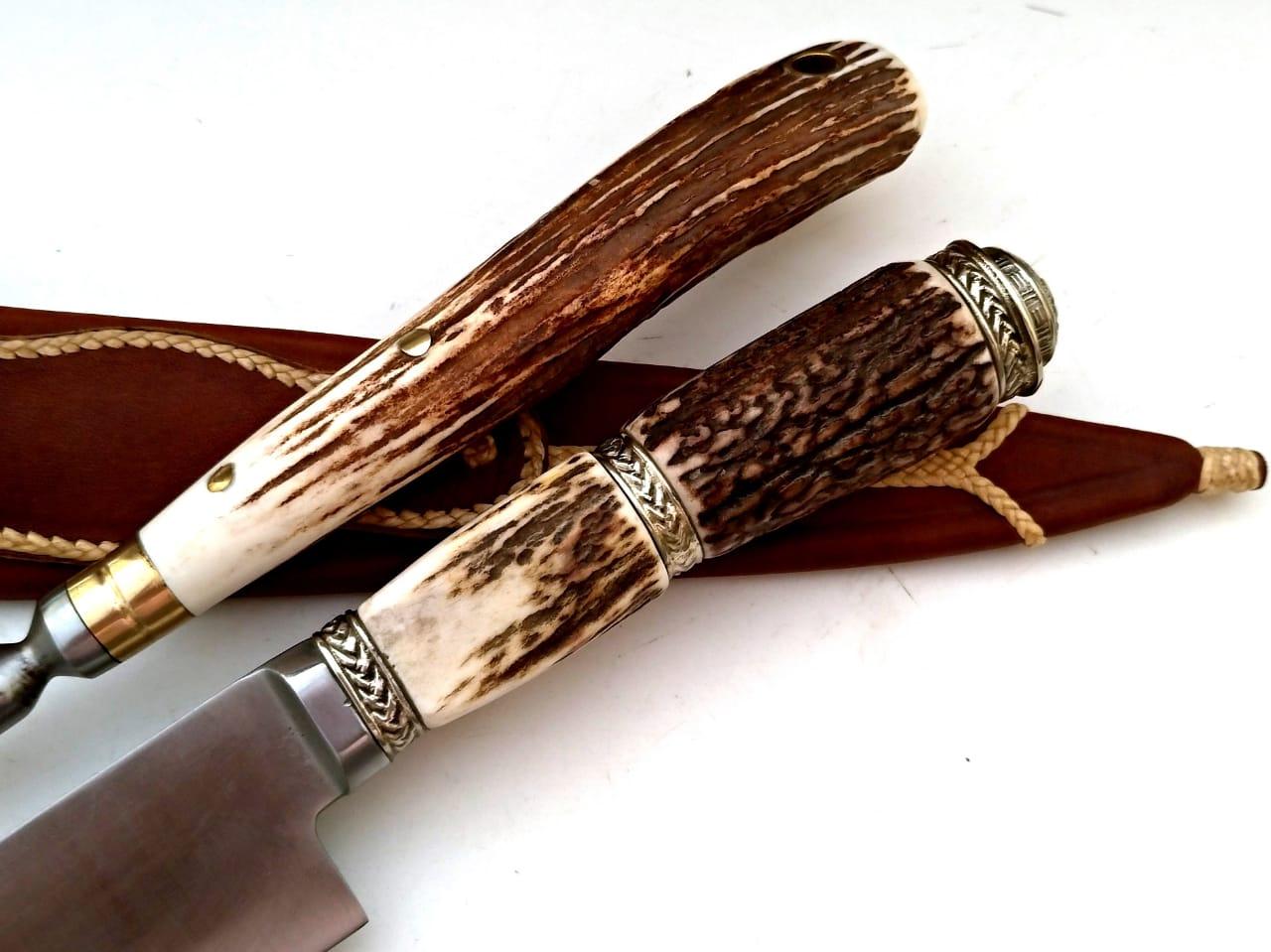 Kit churrasco artesanal faca e garfo trinchante axis 08 polegadas