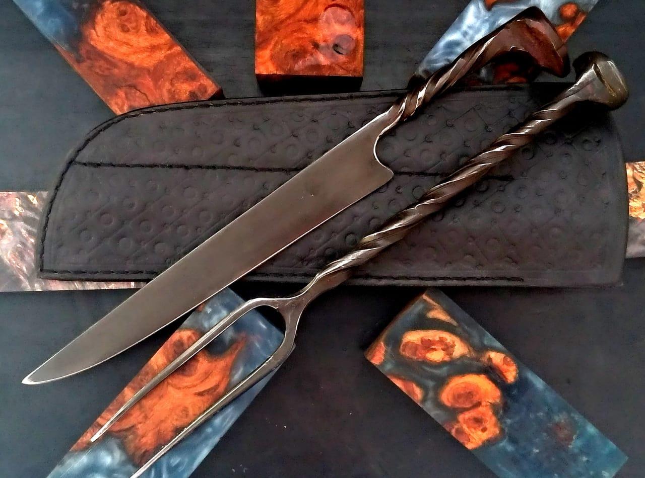Kit faca artesanal forjada e garfo de antigo prego de dormente de trem