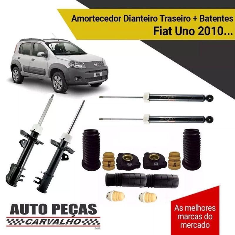 Amortecedores Dianteiro e Traseiro (COFAP) + Kit Batente - Novo Palio / Fiat Uno - 2010 2011 2012 2013 2014 2015 2016 2017 2018 2019
