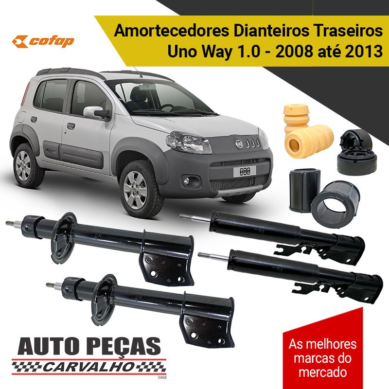 Amortecedor Dianteiro e Traseiro + Kit Batente  Uno Way 1.0 - 2008 até 2013