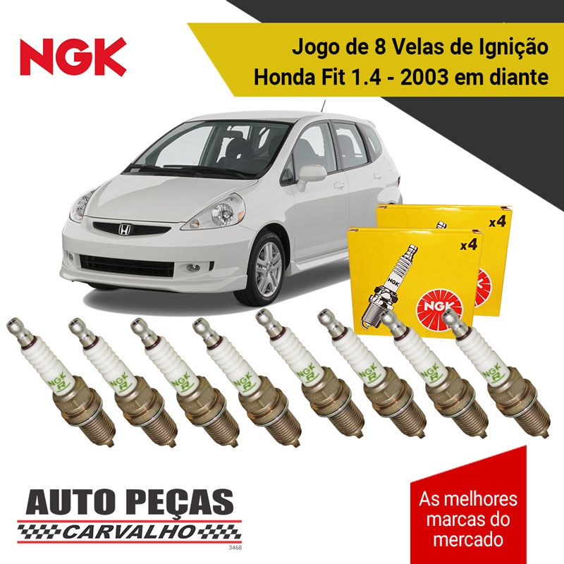 Jogo 8 Velas de Ignição (NGK) - Honda Fit 1.4 8v - 2003 2004 2005 2006 2007 2008 2009 2010 2011 2012 2013 2014 2015 2016 2017 2018 2019
