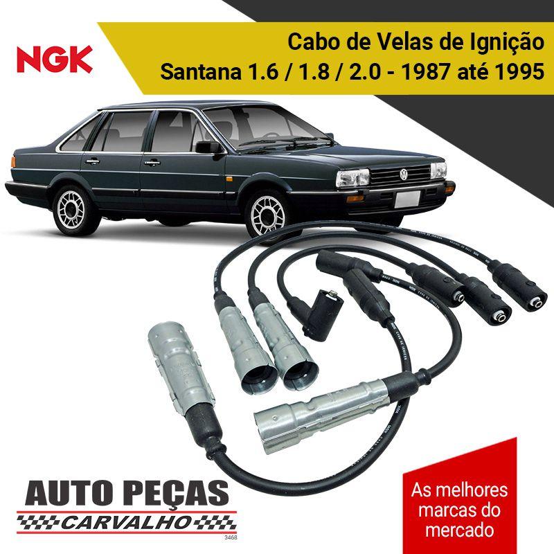 Jogo Cabos de Velas de Ignição (NGK) - Santana 1.6 1.8 2.0 - 1987 1988 1989 1990 1991 1992 1993 1994 1995