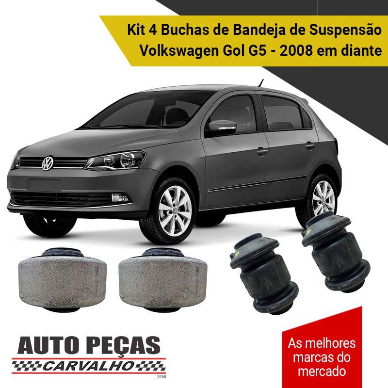 Kit 4 Buchas de Bandeja Dianteira / Traseira (VW) - Volkswagen Gol G5 - 2008 2009 2010 2011 2012 2013 2014 2015 2016 2017 2018 2019