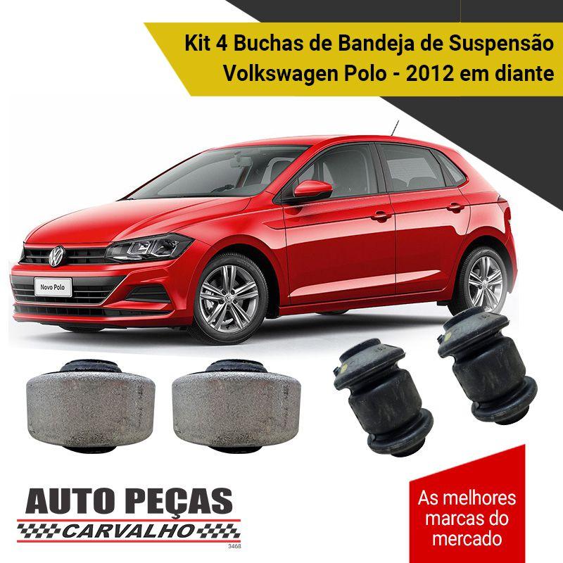 Kit 4 Buchas de Bandeja Dianteira / Traseira (VW) - Volkswagen Polo - 2012 2013 2014 2015 2016 2017 2018 2019