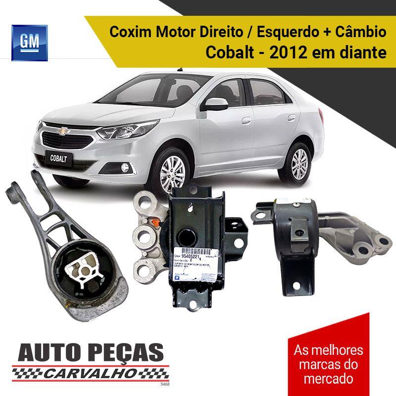 Kit Coxim do Motor Direito / Esquerdo + Coxim do Câmbio Cobalt - 2012 2013 2014 2015 2016 2017 2018 2019