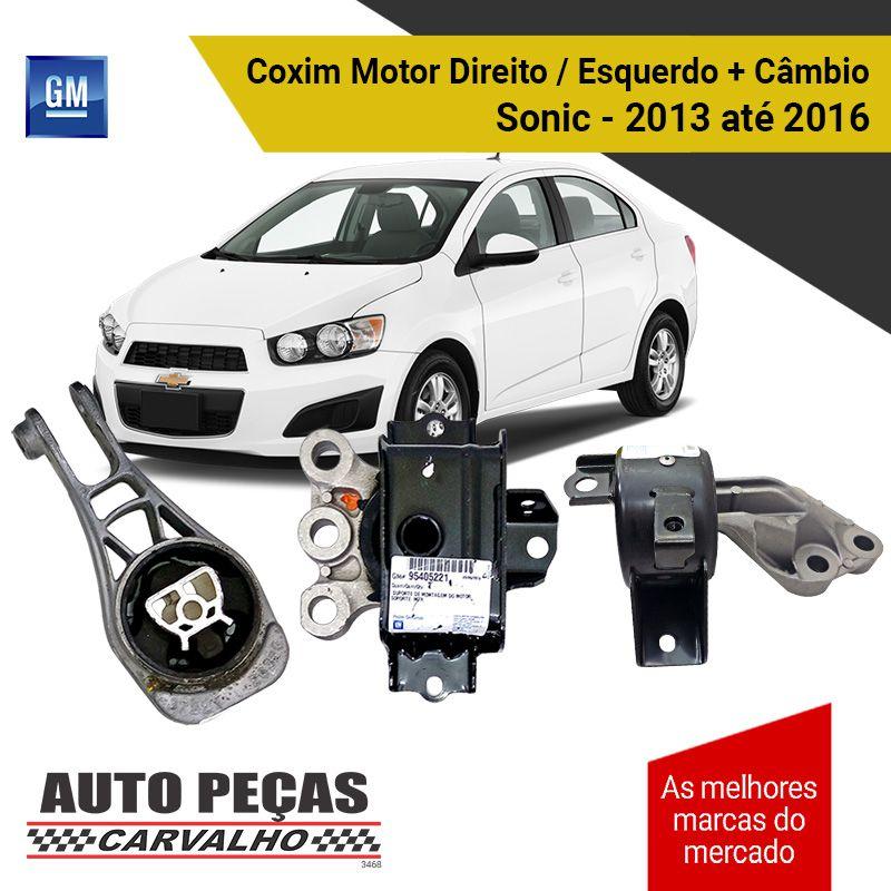 Kit Coxim do Motor Direito / Esquerdo + Coxim do Câmbio (GM) - Chevrolet Sonic - 2013 2014 2015 2016