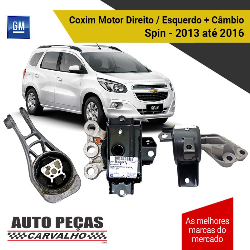 Kit Coxim do Motor Direito / Esquerdo + Coxim do Câmbio (GM) - Chevrolet Spin - 2013 2014 2015 2016