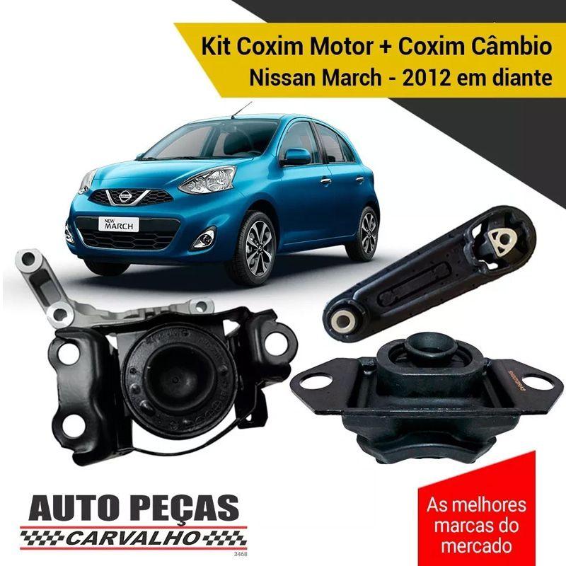 Kit Coxim Motor + Câmbio - Nissan March - 2012 2013 2014 2015 2016 2017 2018 2019