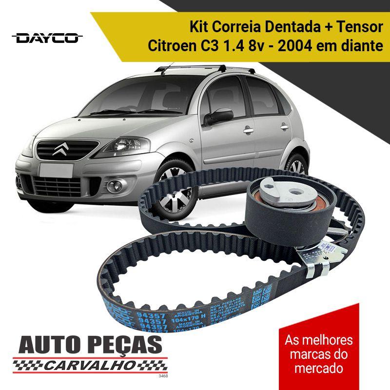 Kit de Correia Dentada (DAYCO) + Tensor - Citroen C3 1.4 8v - 2004 em diante