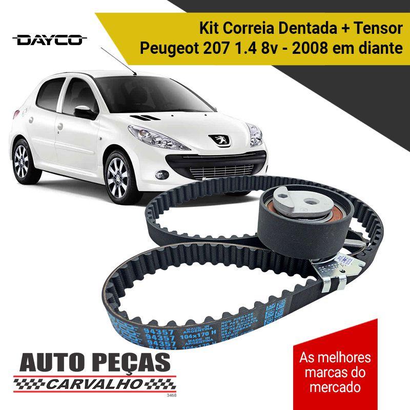 Kit de Correia Dentada (DAYCO) + Tensor - Peugeot 207 1.4 8v - 2008 2009 2010 2011 2012 2013 2014 2015 2016 2017 2018 2019