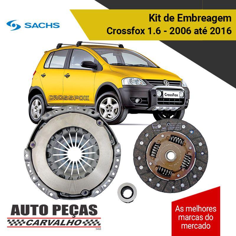 Kit de Embreagem com Rolamento (SACHS) - Crossfox 1.6 - 2006 2007 2008 2009 2010 2011 2012 2013 2014 2015 2016