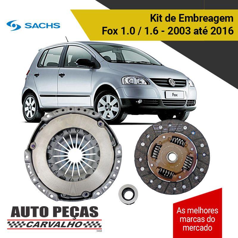 Kit de Embreagem com Rolamento (SACHS) - Fox 1.0 / 1.6 - 2006 2007 2008 2009 2010 2011 2012 2013 2014 2015 2016