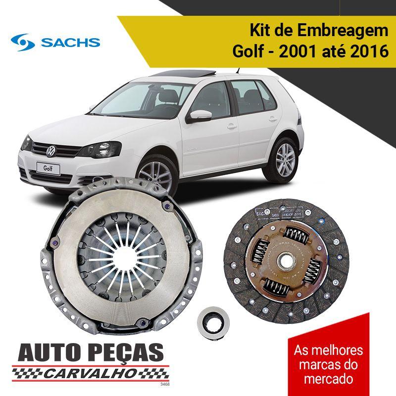 Kit de Embreagem com Rolamento (SACHS) - Golf 1.6 - 2001 2002 2003 2004 2005 2006 2007 2008 2009 2010 2011 2012 2013 2014 2015 2016