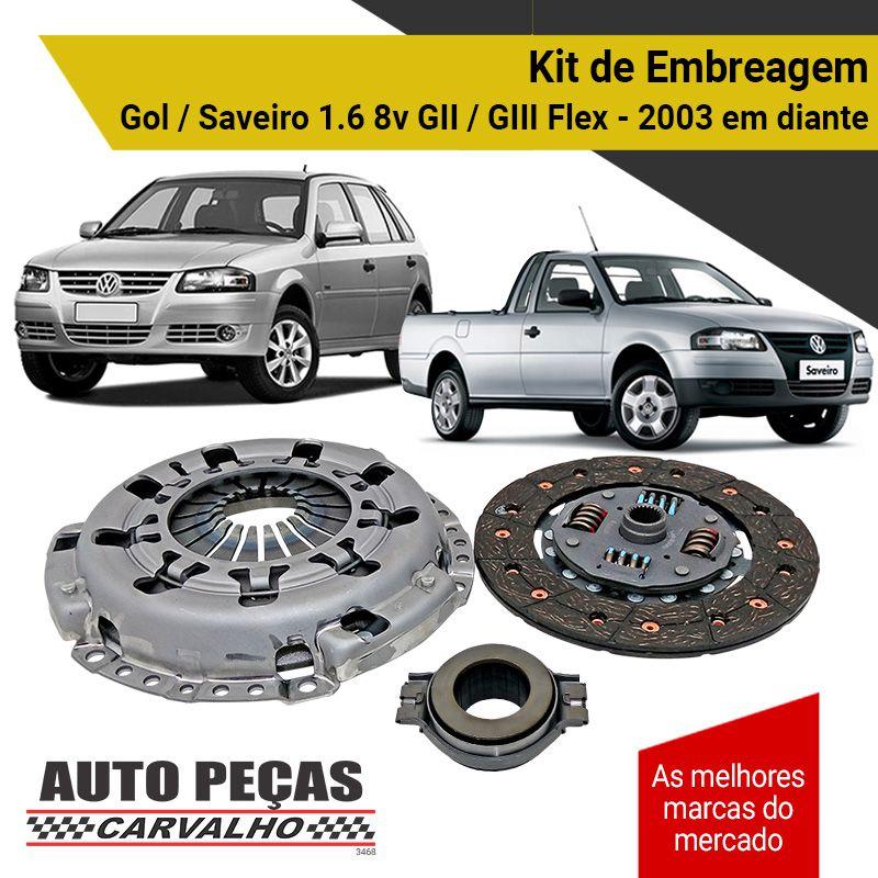 Kit de Embreagem (LUK) - Gol / Saveiro 2.0 8v GI / GII / GIII - 1989 1990 1991 1992 1993 1994 1995 1996 1997 1998 1999 2000 2001 2002 2003 2004