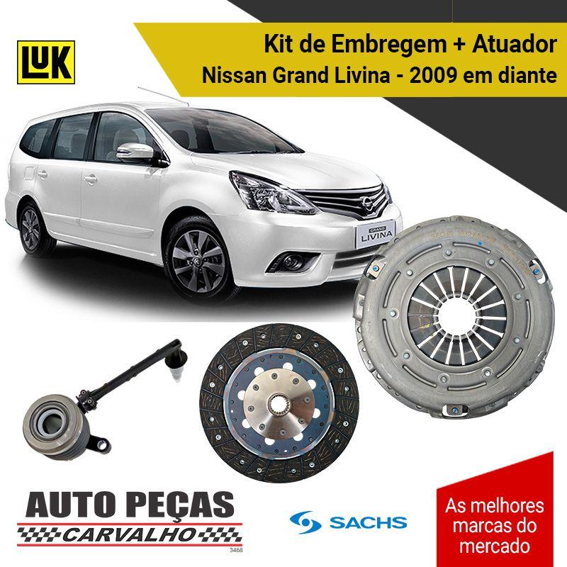 Kit de Embreagem (SACHS) com Atuador (LUK) - Nissan Grand Livina - 2009 2010 2011 2012 2013 2014 2015 2016 2017 2018 2019