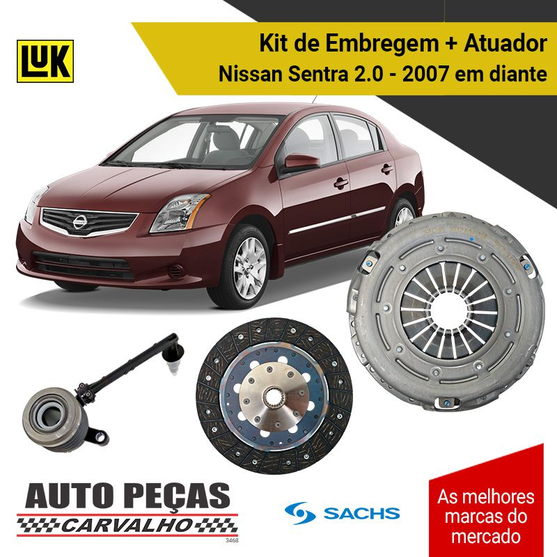 Kit de Embreagem com Atuador Nissan Sentra 2.0 2007 2008 2009 2010 2011 2012 2013 2014 2015 2016 2017 2018 2019