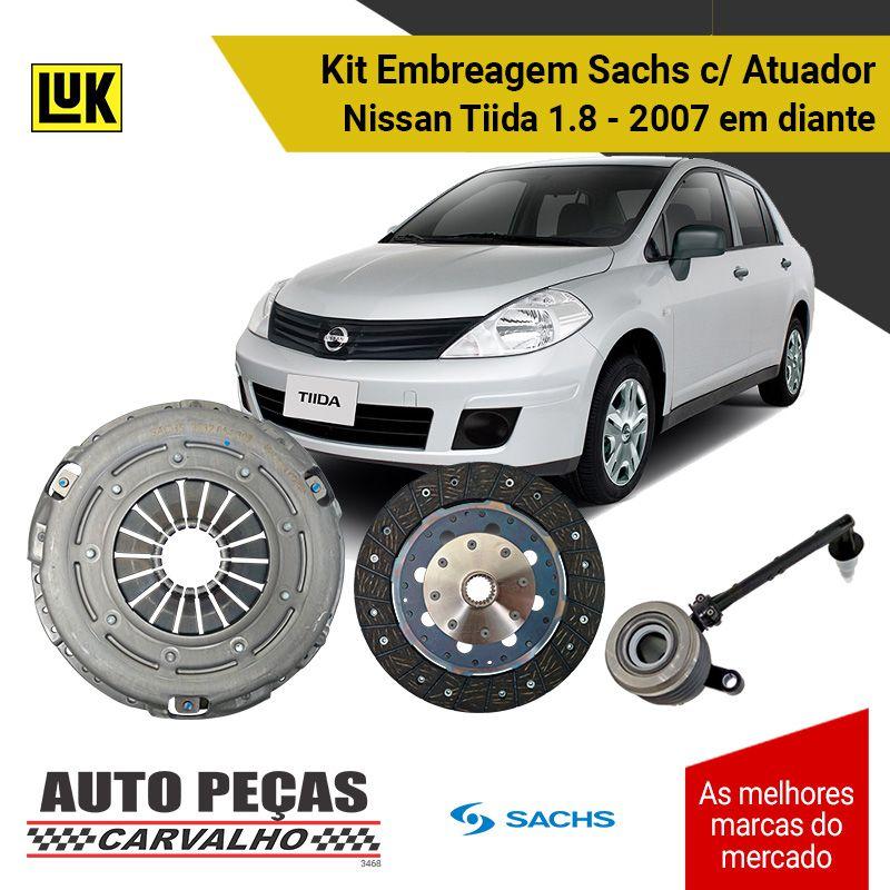 Embreagem com Atuador Nissan Tiida 1.8 - 2007 2008 2009 2010 2011 2012 2013 2014 2015 2016 2017 2018 2019