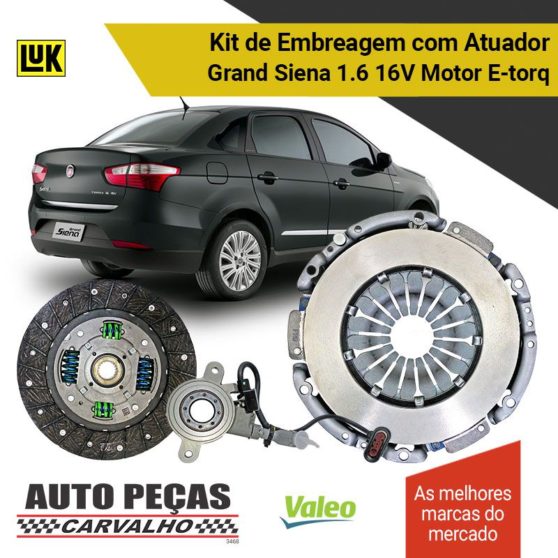 Embreagem + Atuador Dualogic - Grand Siena 1.6 16V - 2010 2011 2012 2013 2014 2015 2016 2017 2018 2019
