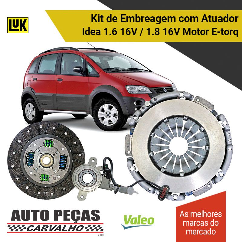 Kit de Embreagem (VALEO) + Atuador (LUK) Dualogic - Idea 1.6 16V / 1.8 16V - 2010 2011 2012 2013 2014 2015 2016 2017 2018 2019