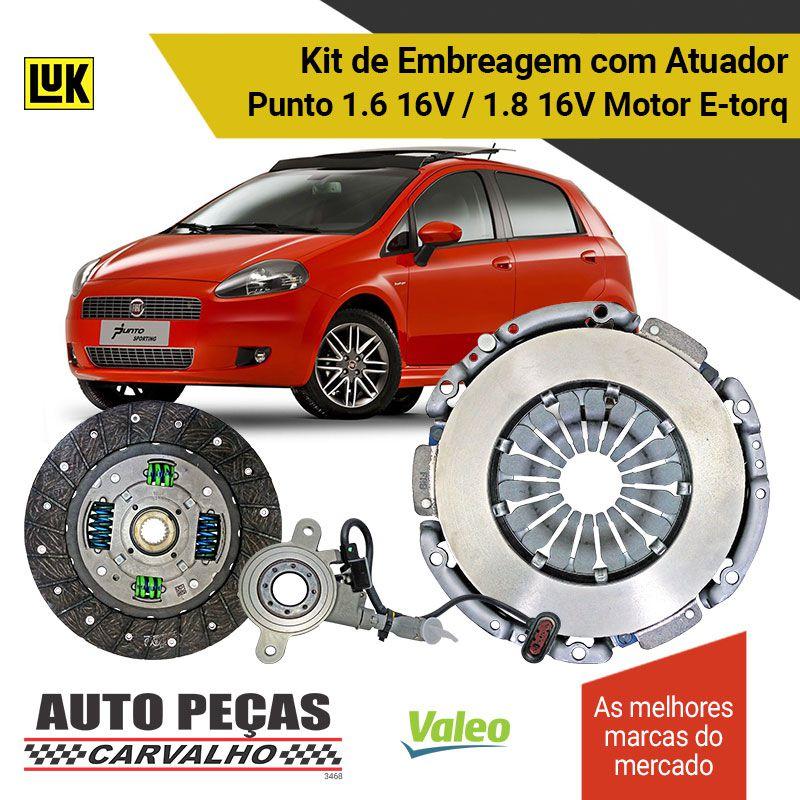 Kit de Embreagem (VALEO) + Atuador (LUK) Dualogic - Punto 1.6 16V / 1.8 16V - 2010 2011 2012 2013 2014 2015 2016 2017 2018 2019