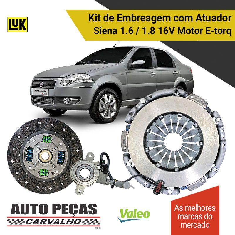 Kit de Embreagem + Atuador Dualogic Siena 1.6 16V / 1.8 16V 2010 2011 2012 2013 2014 2015 2016 2017 2018 2019