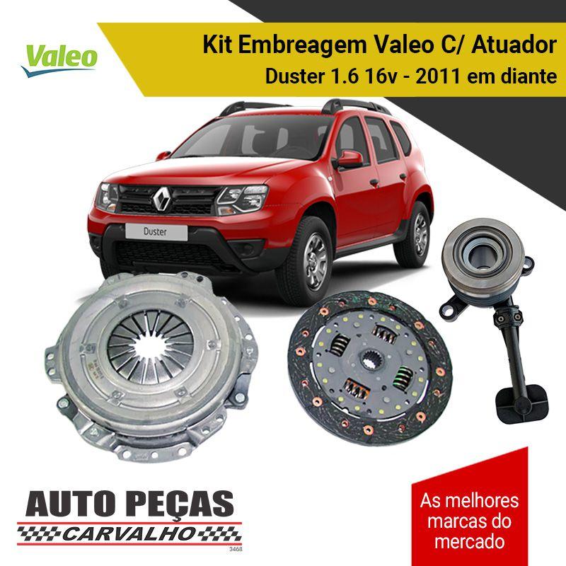 Kit de Embreagem (VALEO) + Atuador - Renault Duster 1.6 16v - 2011 2012 2013 2014 2015 2016 2017 2018 2019 2020