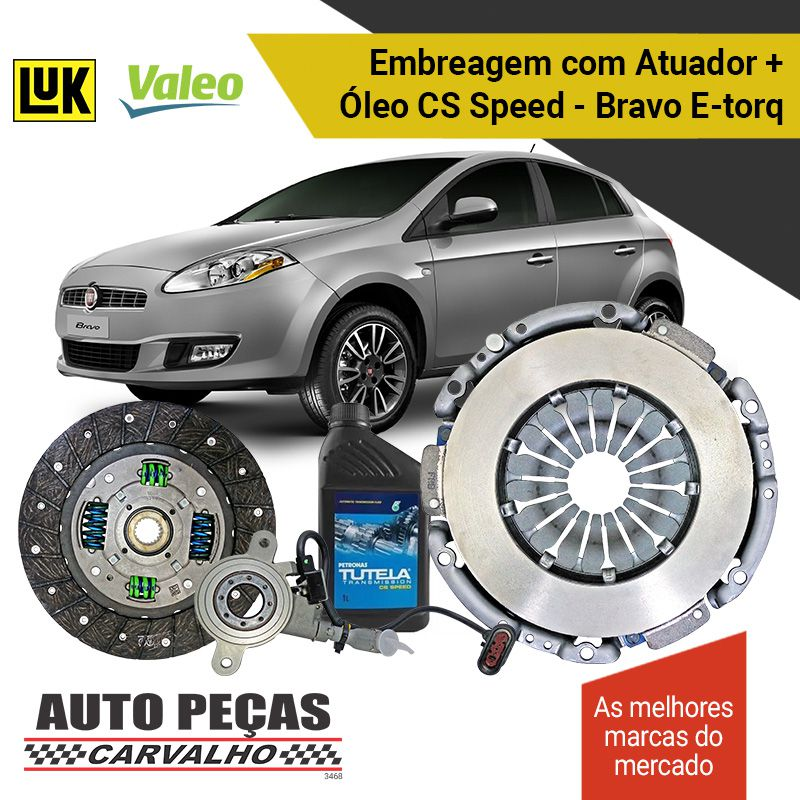 Kit de Embreagem (VALEO) Dualogic + Atuador (LUK) + Óleo CS SPEED - Bravo 1.8 16v - 2011 2012 2013 2014 2015 2016 2017 2018 2019