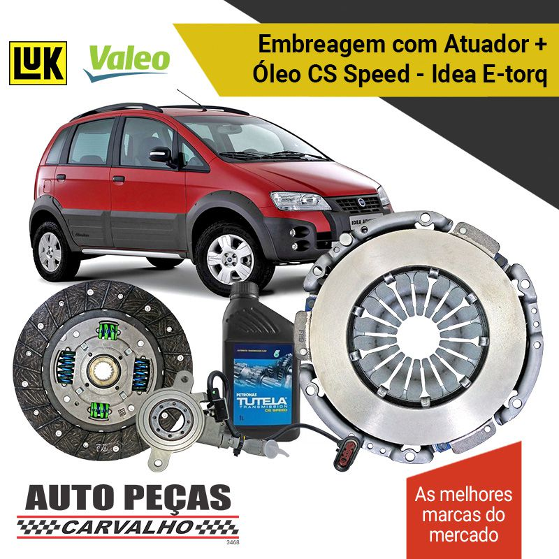 Kit de Embreagem (VALEO) Dualogic + Atuador (LUK) + Óleo CS SPEED - Idea 1.6 16V / 1.8 16V - 2010 2011 2012 2013 2014 2015 2016 2017 2018 2019