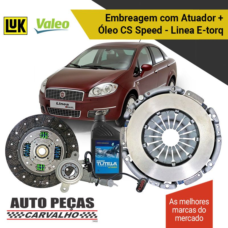 Kit de Embreagem (VALEO) Dualogic + Atuador (LUK) + Óleo CS SPEED - Línea 1.8 16V / 1.9 16V  - 2010 2011 2012 2013 2014 2015 2016 2017 2018 2019