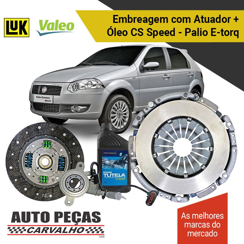 Kit de Embreagem (VALEO) Dualogic + Atuador (LUK) + Óleo CS SPEED - Palio 1.6 16V / 1.8 16V  - 2010 2011 2012 2013 2014 2015 2016 2017 2018 2019