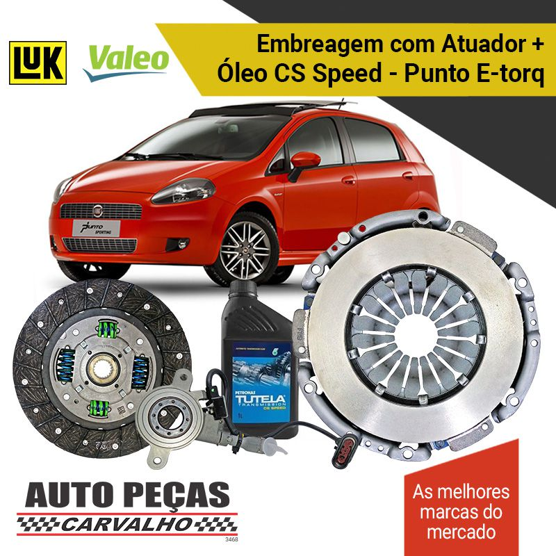 Kit de Embreagem (VALEO) Dualogic + Atuador (LUK) + Óleo CS SPEED - Punto 1.6 16V / 1.8 16V - 2010 2011 2012 2013 2014 2015 2016 2017 2018 2019