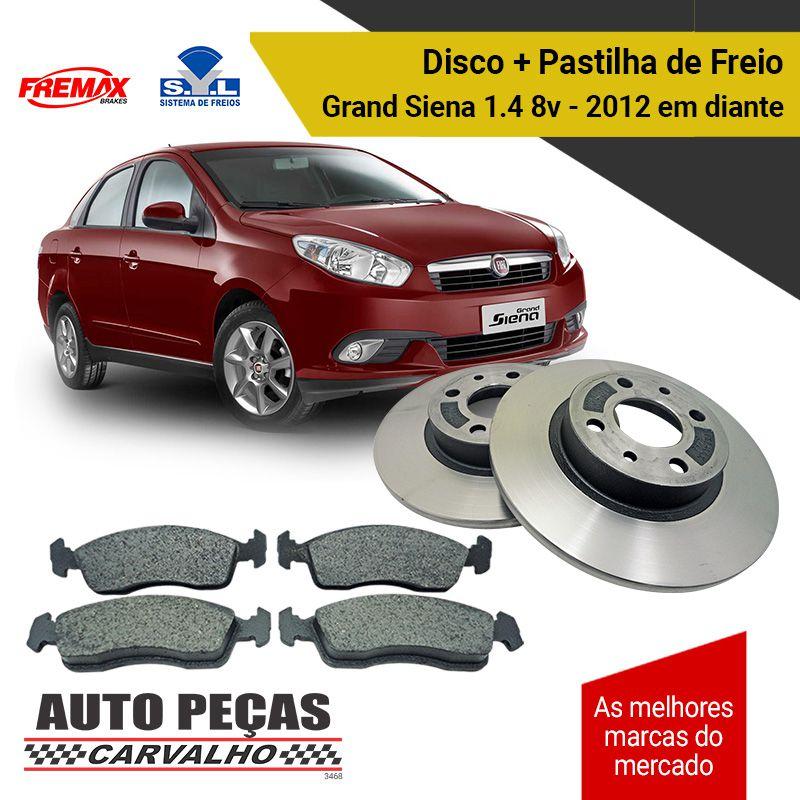 Kit Disco de Freio (FREMAX) + Pastilha de Freio (SYL) - Grand Siena 1.4 8v - 2012 2013 2014 2015 2016 2017 2018 2019