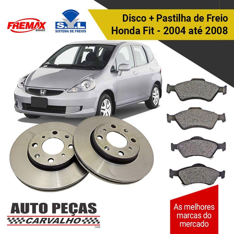 Kit Disco de Freio (FREMAX) + Pastilha de Freio (SYL) - Honda Fit - 2004 2005 2006 2007 2008
