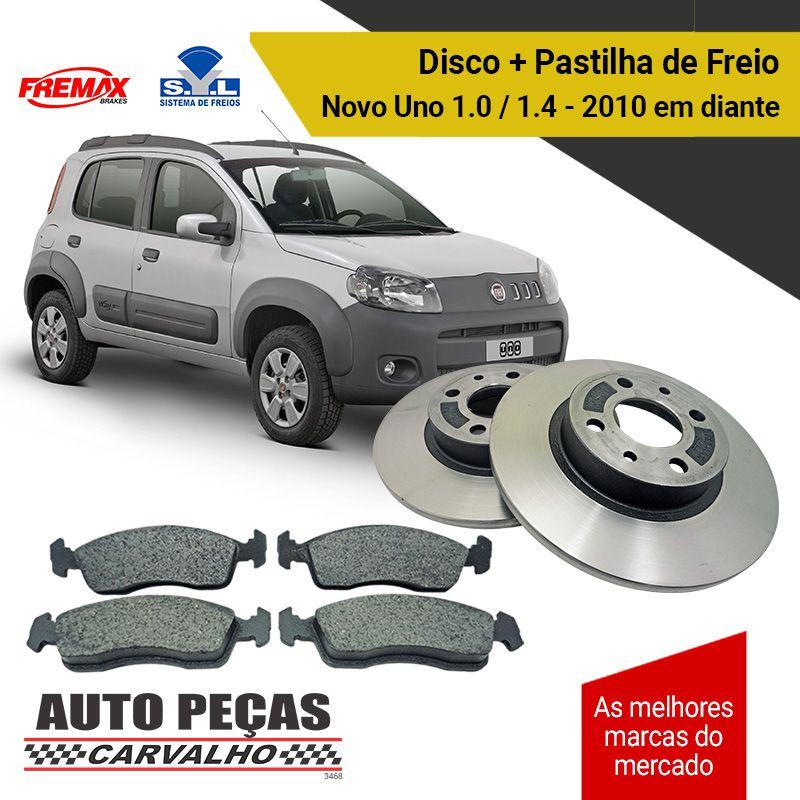 Kit Disco de Freio (FREMAX) + Pastilha de Freio (SYL) - Novo Uno 1.0 / 1.4 - 2010 2011 2012 2013 2014 2015 2016 2017 2018 2019