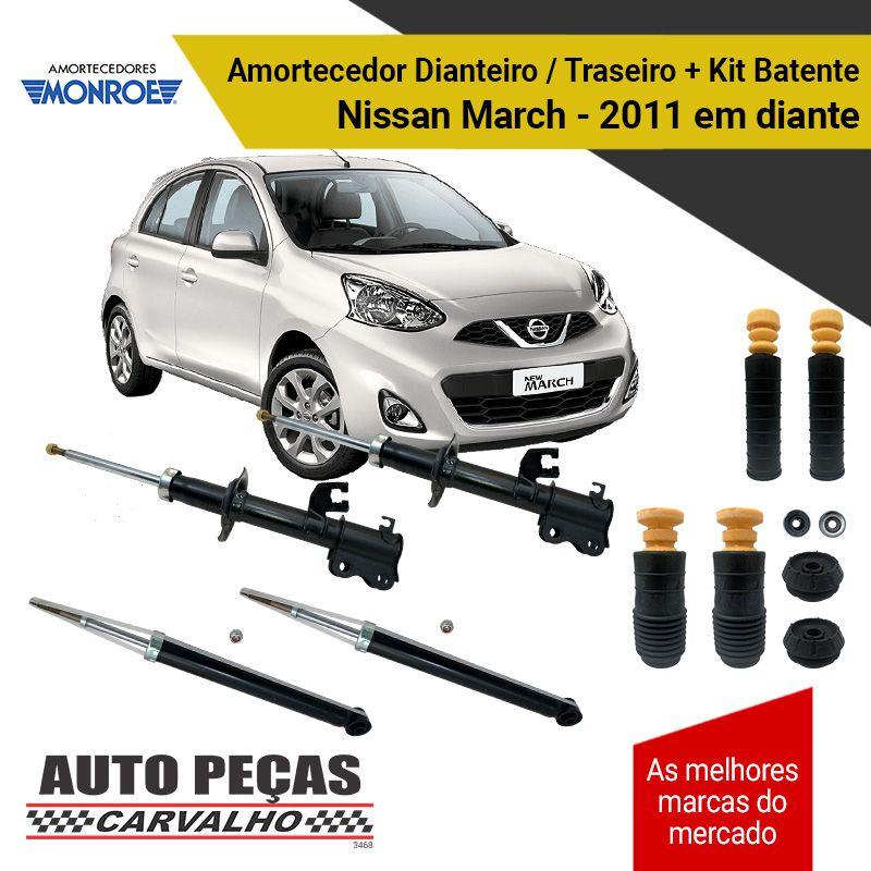 Par Amortecedores Dianteiros e Traseiros (COFAP) + Kit Batente - Nissan March - 2011 2012 2013 2014 2015 2016 2017 2018 2019