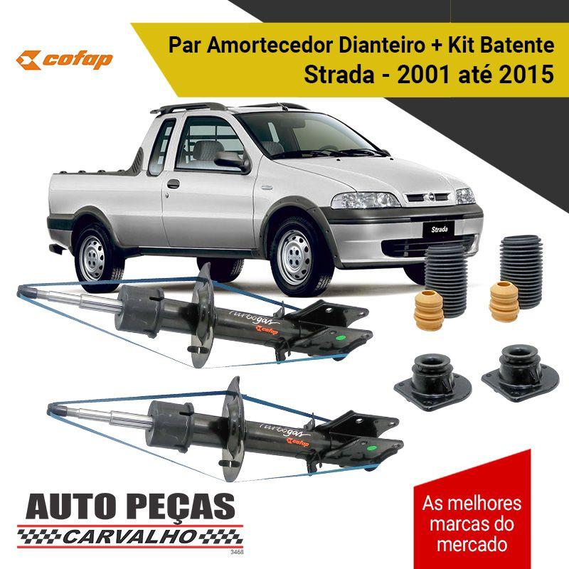 Par de Amortecedor Dianteiro (COFAP) + Kit Batente - Palio / Palio Weekend / Siena / Strada - 2001 até 2015