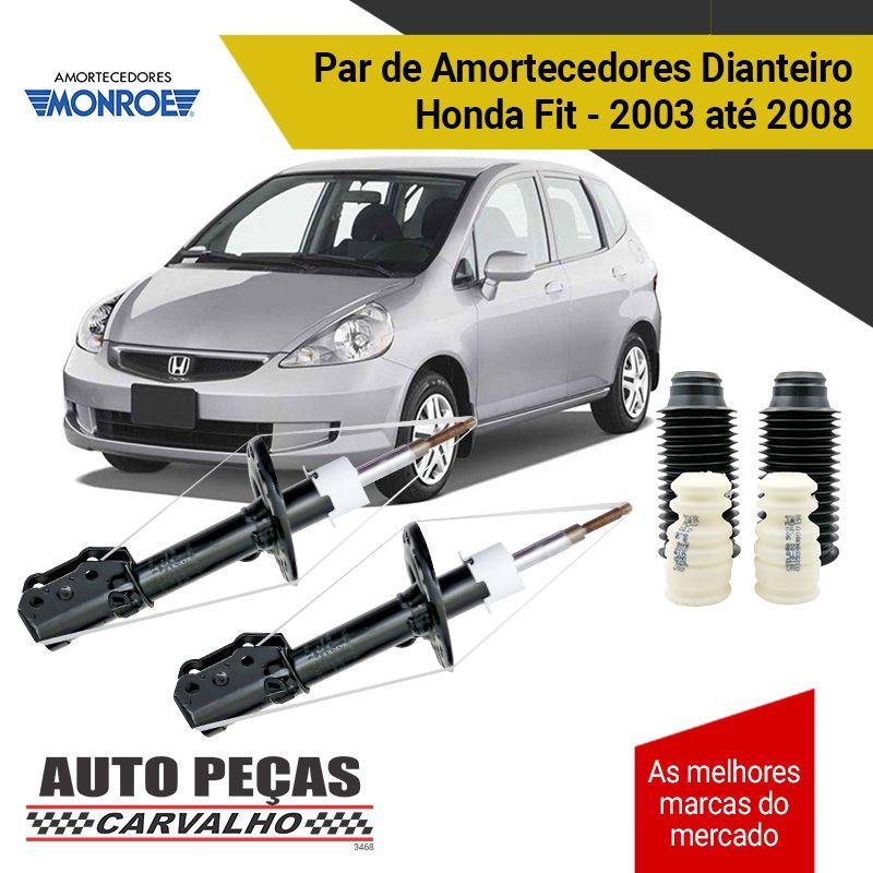 Par de Amortecedores Dianteiros (MONROE) + Kit Batente Honda Fit - 2003 até 2008