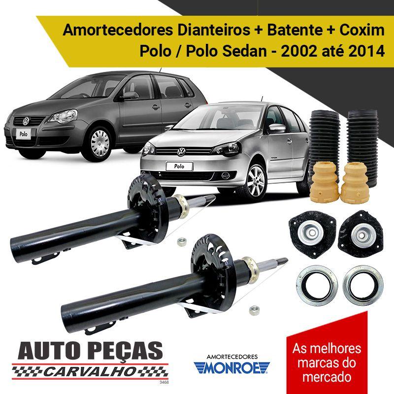 Par de Amortecedores Dianteiros (MONROE) + Kit Batentes + Coxins (AXIOS) - Polo / Polo Sedan 2006 em diante