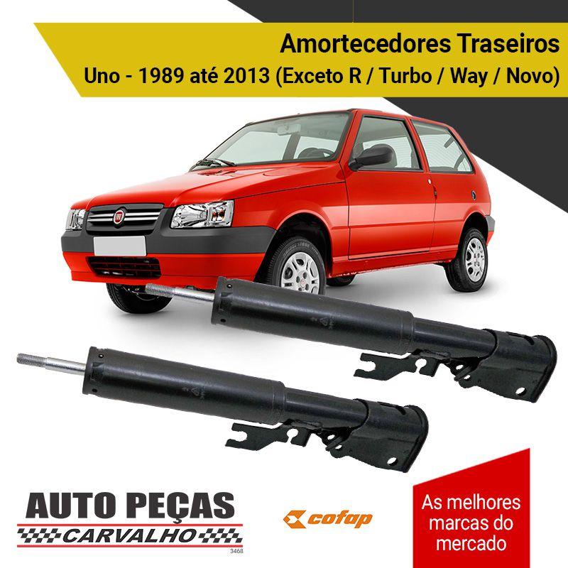Par Amortecedores Traseiros (COFAP) - Fiat Uno - 1989 1990 1991 1992 1993 1994 1995 1996 1997 1998 1999 2000 2001 2002 2003 2004 2005 2006 2007 2008 2009 2010 2011 2012 2013 (exceto R/Turbo/Way/Novo)