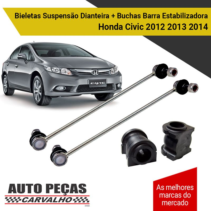 Par de Bieletas (AXIOS) + Buchas Barra Estabilizadora - Honda New Fit - 2009 2010 2011 2012 2013 2014