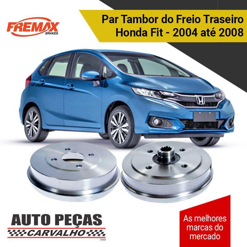 Par Tambor Freio Traseiro (FREMAX) - Honda Fit - 2004 2005 2006 2007 2008 (todos os modelos)