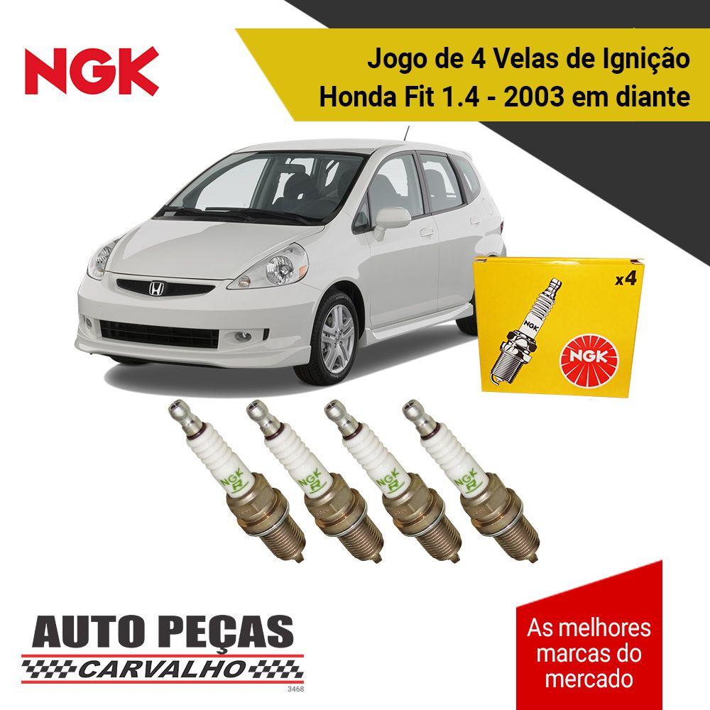 Jogo 4 Velas de Ignição - Honda Fit 1.4 8 válvulas - 2003 2004 2005 2006 2007 2008 2009 2010 2011 2012 2013 2014 2015 2016 2017 2018 2019