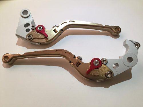 Manete Esportivo Longo Articulado Moto Kawasaki Zx10r Zx6 Bronze/Vermelho