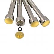 5 Tampas para parafusos M10 em alumínio dourado
