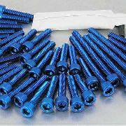 Kit Universal de Parafusos da Tampa do Motor Alumínio Pro-Bolt 50 pçs Azul