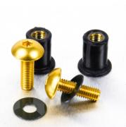 Kit Parafusos de bolha M5 com Buchas (2 Unid) Dourado